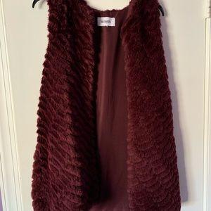 Burgundy fur vest